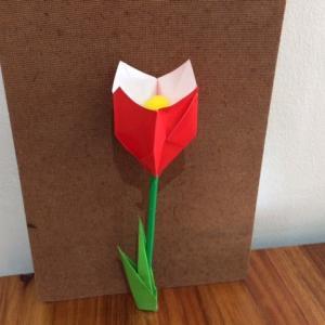 折り紙で立体的なチューリップの花と葉の折り方 子供と楽しく
