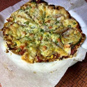 低糖質なピザ生地を手作りして美味しくいただきました