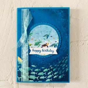 【minne・動画】海の中のシャドーボックス誕生日カード