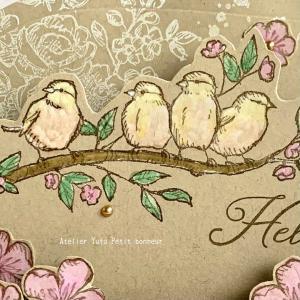 もふもふの鳥さん♡カラーカードストックに色付けする&コピック情報