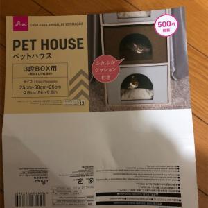 【猫さん】ダイソーのペットハウス(500円)