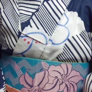 紺の浴衣コーデ