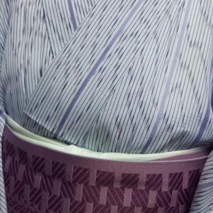 ブルーの小紋コーデ