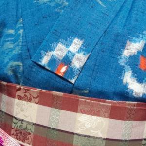 ブルーの着物コーデ