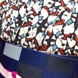 幾何学模様の着物コーデ