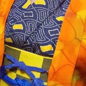 柿色の羽織コーデ