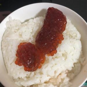 『夕飯』筋子ご飯 鮭の汁