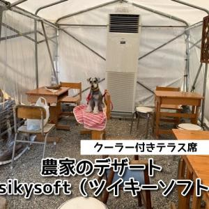 【 農家のデザートtsikysoft(ツイキーソフト)】クーラー付きテラス席ワンちゃんOK!濃厚なソフトクリームや旬のフルーツを使用したパフェが人気!