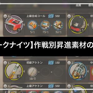 【アークナイツ】作戦別昇進素材の効率【副素材含め】