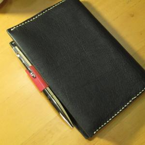 革工芸⑩ ノートカバー兼用ブックカバー ペンや定規も収まる