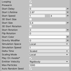 Unity_Particle System_メイン機能メモ