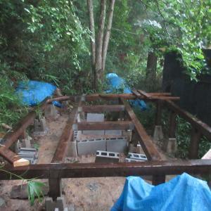 猪名川町ダーチャプロジェクト やっと夏野菜の収穫&小屋床下収納造作1 2019.8.25