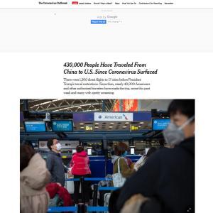 アメリカではすでに43万人が武漢ウィルスによる渡航禁止以前に往来していた。