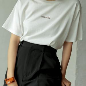 Re:EDIT‐リエディ オーガニックコットン刺繍ロゴTシャツ