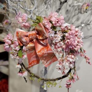 八重桜のリースをお作りいただきました