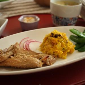 茶碗蒸し&かぼちゃサラダ(夕食)