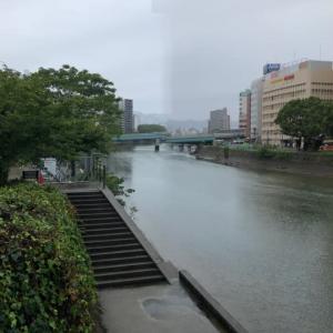 広島市は今日も雨・・・ハトも雨宿りしています
