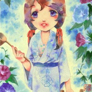 夏ものの少女画