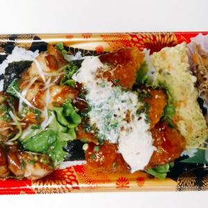 マミーマートの海苔弁当(チキンと白身タルタルフライ)は白身フライが南蛮風