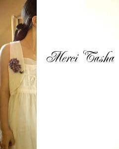 菫の花corsageと緑色ribbon