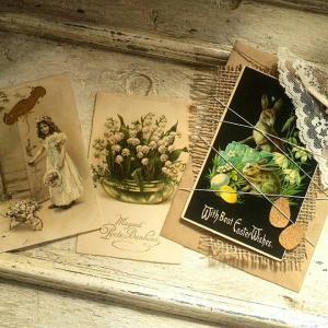 Easter兎の封筒コラージュ イイネのお礼