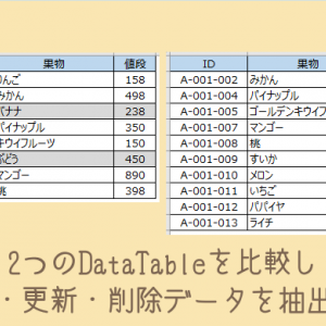 【UiPath】2つのDataTableを比較し新規・更新・削除データを抽出する