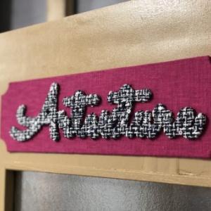 アトリエのドアにカルトナージュ