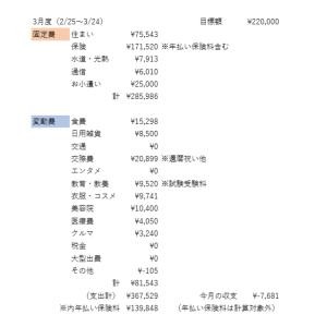 【3月度】今月の家計簿