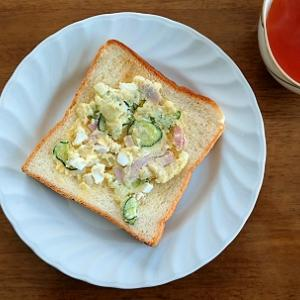 35円☆ズボラな朝食、ポテトサラダパン。