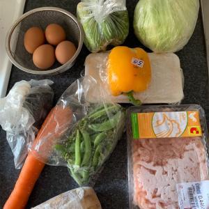 レンコン入りチキンナゲット、ひじきナムル、生野菜と卵のサラダ
