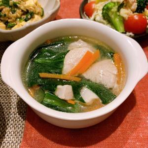 【レシピ】鶏むね肉と小松菜の生姜スープ