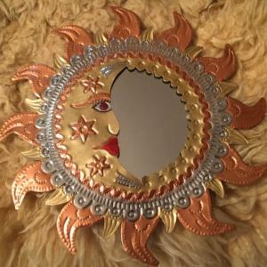 オハラタ メキシコ伝統工芸品 ブリキの鏡
