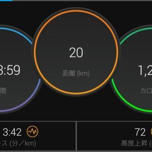 20kmペース走(設定3'45/km)
