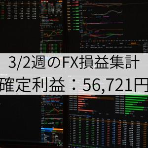 3/2週のFX損益集計(確定利益:56,721円)