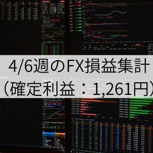 4/6週のFX損益集計(確定利益:1,261円)