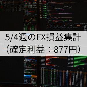 5/4週のFX損益集計(確定利益:877円)