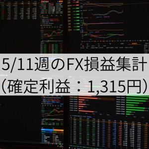 5/11週のFX損益集計(確定利益:1,315円)