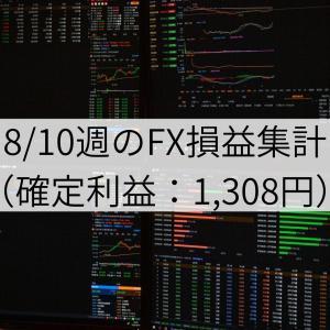 8/10週のFX損益集計(確定利益:1,308円)