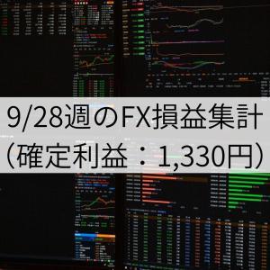 9/28週のFX損益集計(確定利益:1,330円)