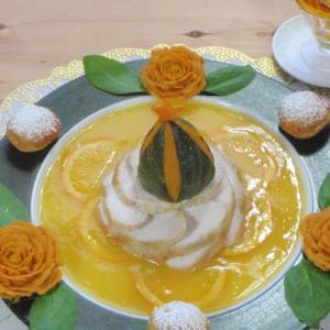 鶏肉ローストのオレンジソース クリームチーズパンプキンの花とクリスマスツリー&ドライオレンジの蝶々&スイートポテトのポムスフレ添え
