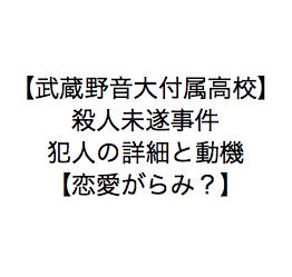 【武蔵野音大付属高】殺人未遂事件・同級生を刺した犯人詳細と動機