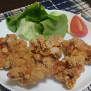 鶏の唐揚げと野菜スープ