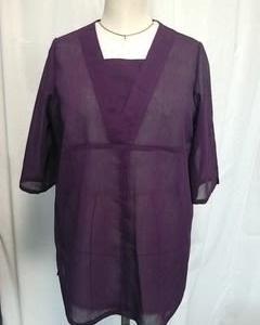 紫色の楊柳着物でブラウス