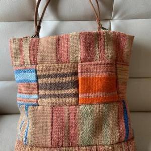 草木染 手織物バック