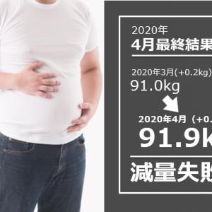【逆ダイエット月間!】2020年 4月反省 体重91.9kg 月間で+0.9kg