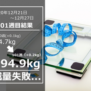 ヤバい、95kg台が間近に迫る Day707(12/27)&101w結果94.9(週間+0.2)kg