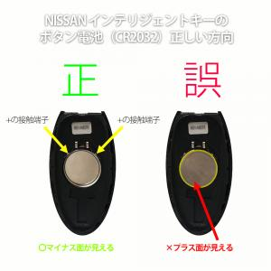 日産インテリジェントキーのボタン電池方向