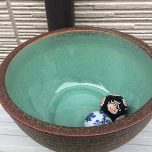 信楽焼の睡蓮鉢を買いました。