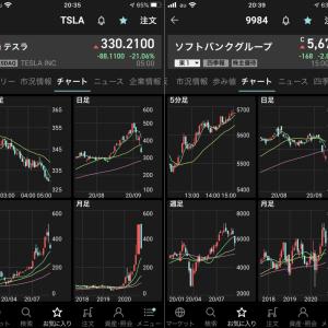 予想通り、今日から下げが始まった気がする。米国株テスラが穴に落ちるのを見た…