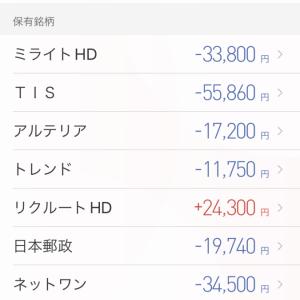 予感が的中しまくり!保有銘柄は1日で+約16万円UP。NTTデータ(9613)は早くも含み益に…